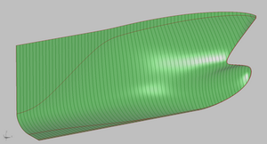 Examle of fore ship hull surface subdivision.