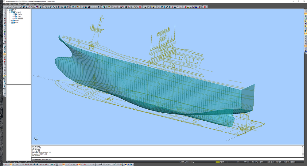Hull shape model with views from GA.