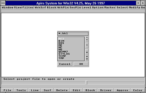Example of graphics interfae of  Apirs system.