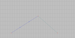 Lines control polygon in edit mode.
