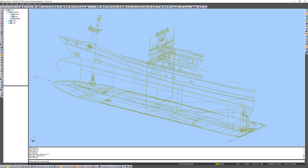 All views prepared for hull shaper modeling.