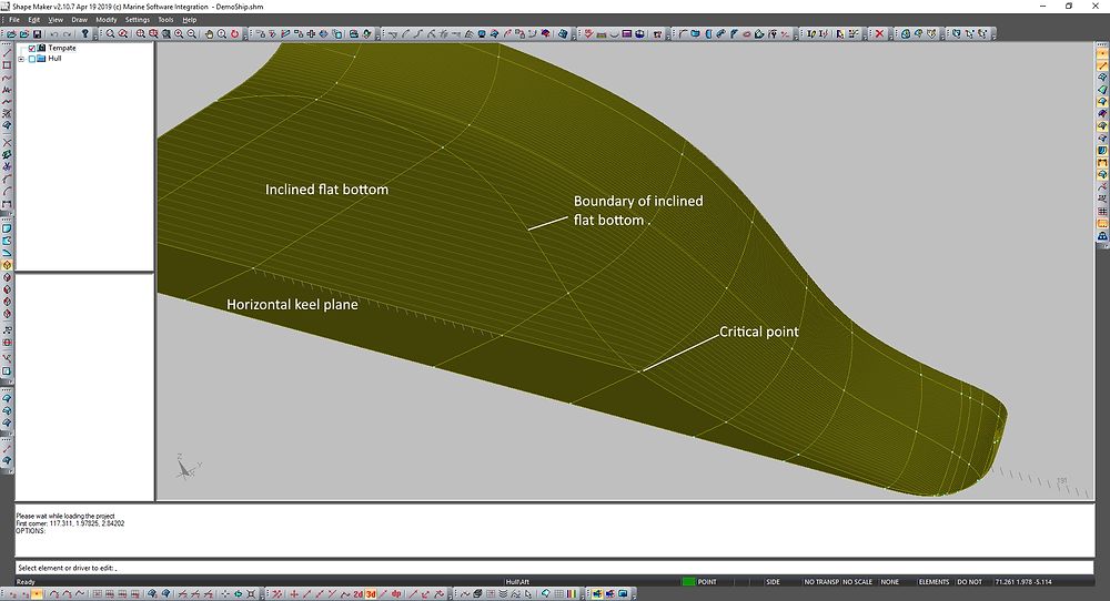 Deadrise hull surface modeling.