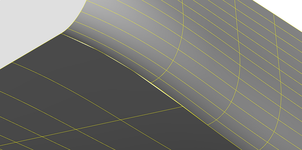 Gaps between patches appear where boundary curves has different geometry.