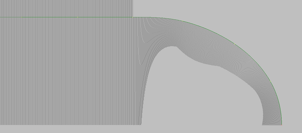 Straight area of the curve started from knot.