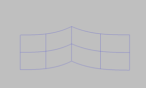 Two surface patches connected by common line.
