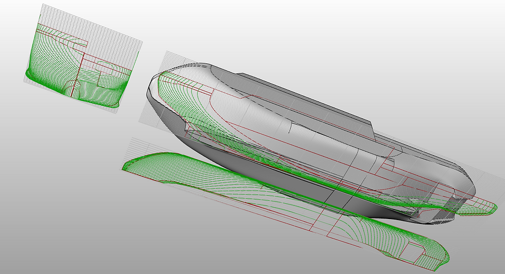 Hull lines and the 3D model.