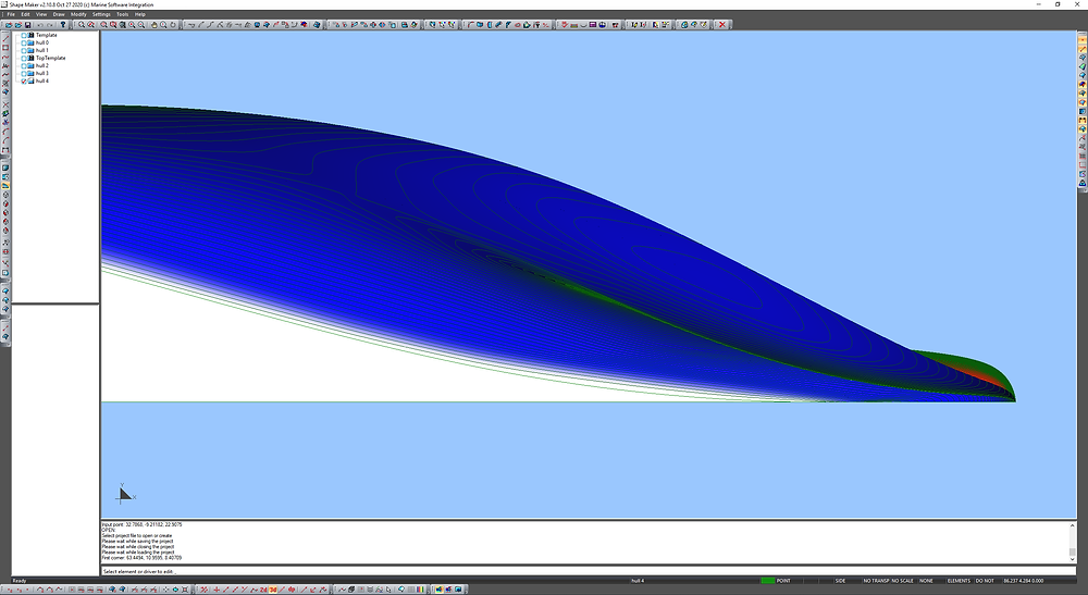 Lines of equial angle on plan view.