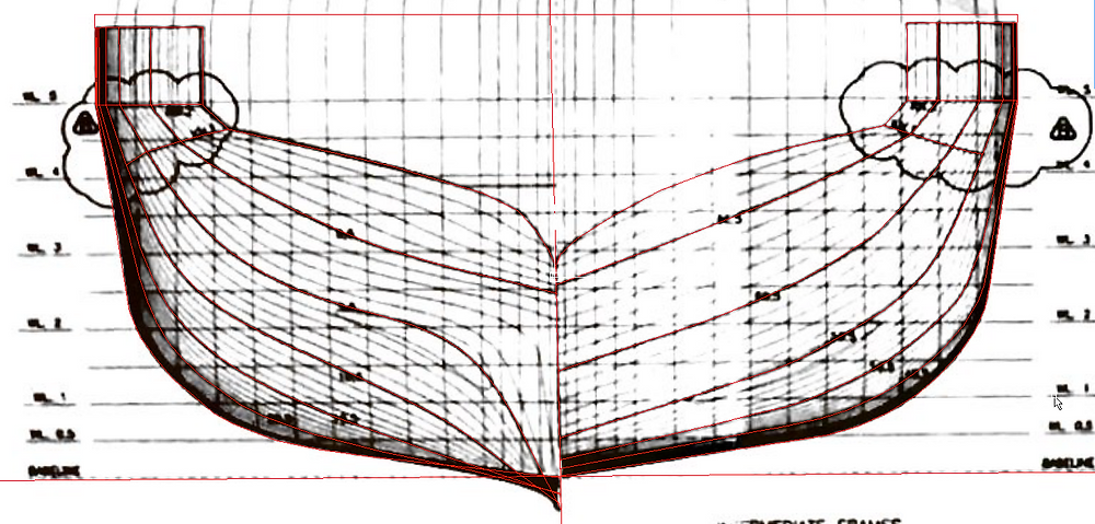 Polylines on top of scanned drawing.