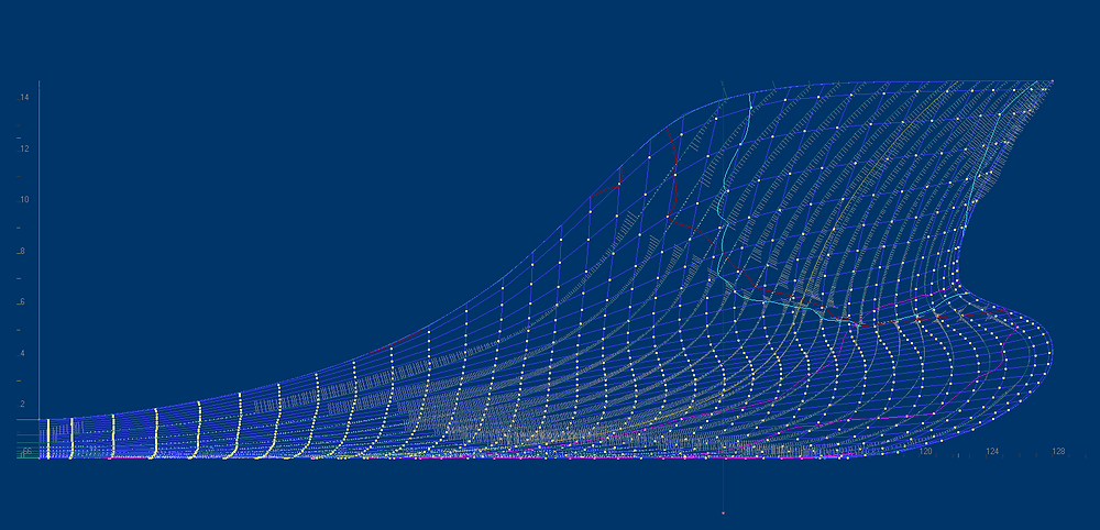 Inflection line for frames ( cian ) has several inersection with frame marked by red line.  It means that frame has several inflection points and bad shape.