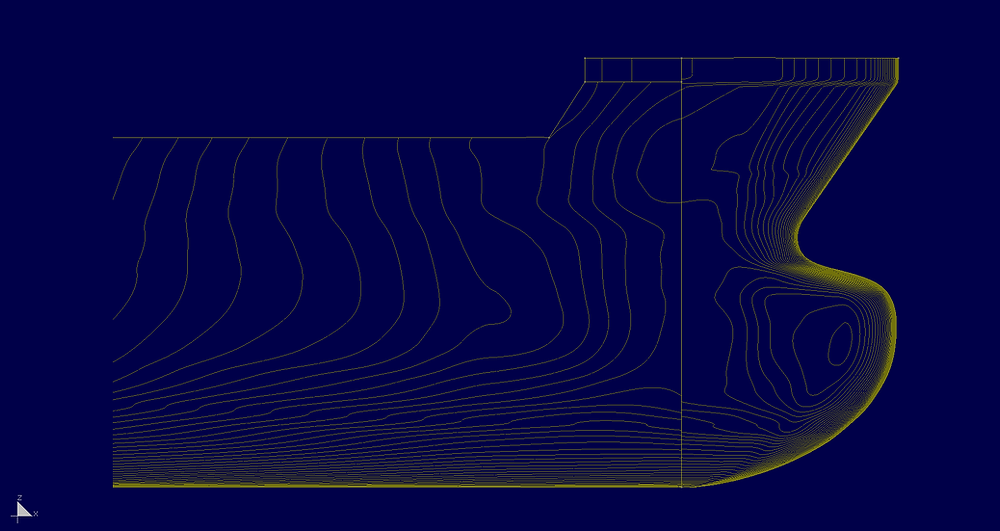 Lines of equial angle. Easy to see gap in curfvature.