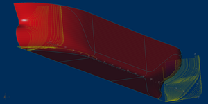 Reconstructed hull shape with 2D frames.