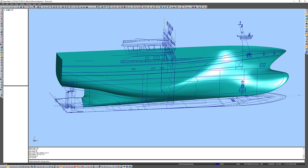Hull shape model with initial infromation from GA,