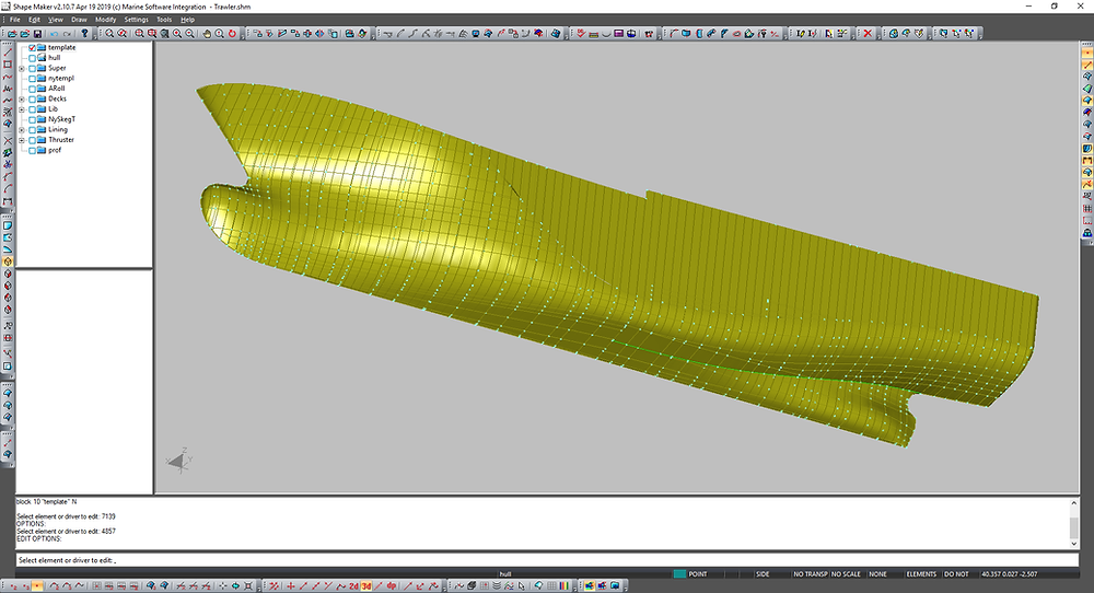Preliminary hull surface. Consist of hundreds Bezie patches.