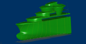 Set of points, lines and surface patches in hull shape model.