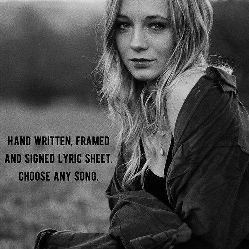 Hand Written Lyric Sheet