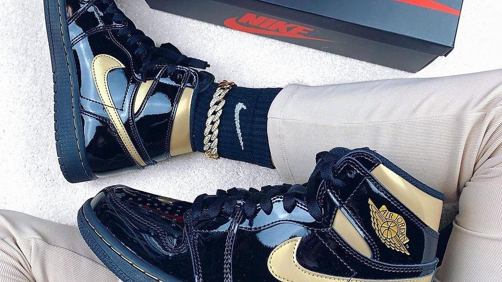 "Nike Air Jordan 1 High ""Black Metallic Gold"""