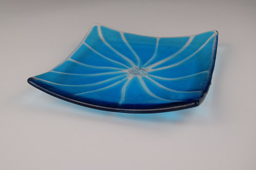 Abstract Flower Plate - Blue