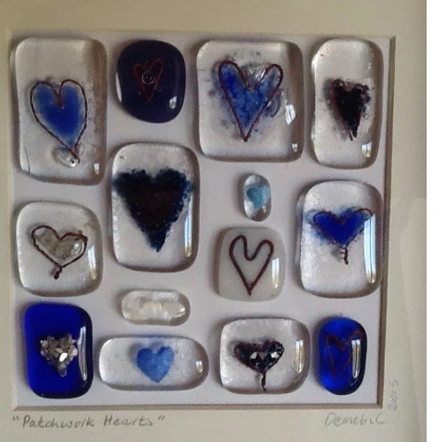 'Patchwork Hearts' Framed Picture - Blue
