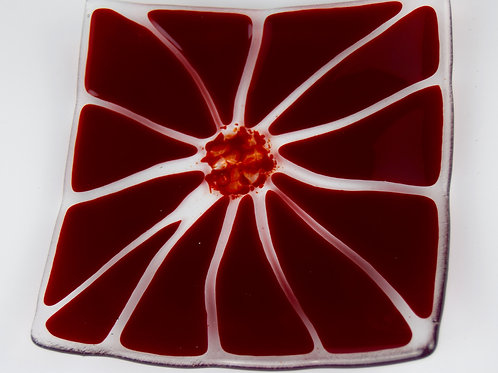 Abstract Flower Plate - Red