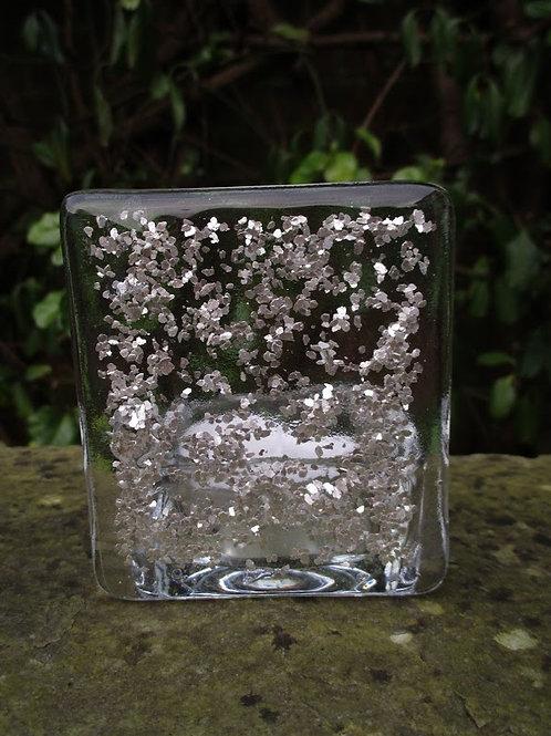 Tea Light Holder - Silver Glitter