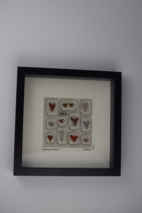 'Patchwork Hearts' Framed Picture - Red