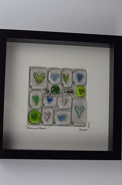 'Patchwork Hearts' Framed Picture - Green
