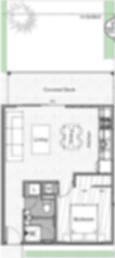Floorplan including deck and balcony, Swaffield Apartments perfect for couples, and first home owners, Auckland New Zealnd
