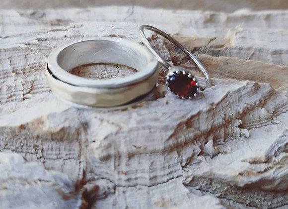 טבעת זהב 14K מולחמת על כסף וטבעת כסף דקה