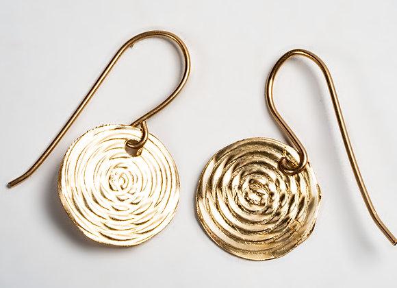 עגילי זהב תליון ספירלה