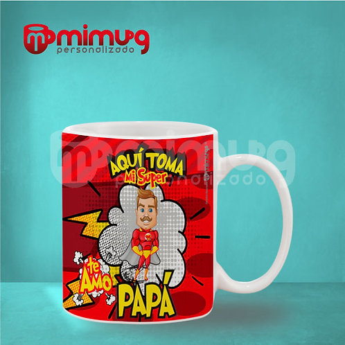 "Mug Papá ""Súper Héroe Rojo"""