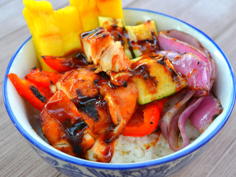 What a Mouth Full! Grilled Teriyaki Chicken, Pineapple & Veggies Over Coconut Sticky Rice