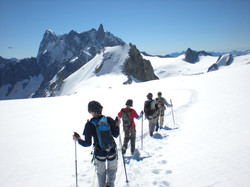 Descending from the Col Du Midi towards Italy (top right) with Jorasses in background