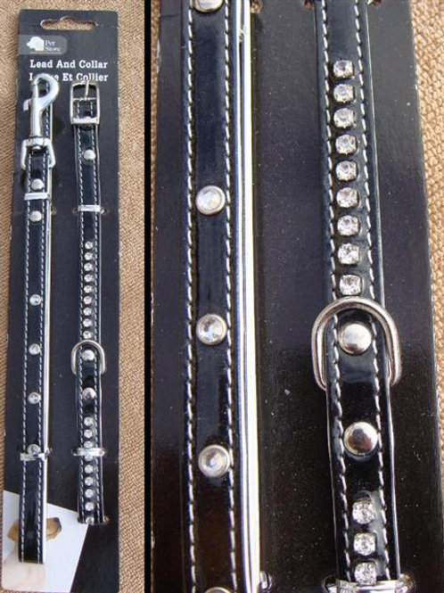 Patent Diamante Collar & Lead Set – Small to Medium