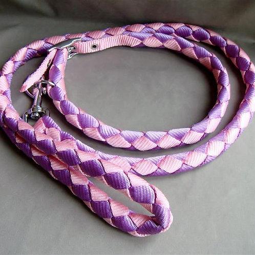 Pink & Mauve Plaitted  Collar & Lead Set  (PMPCLS)