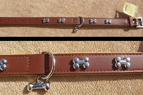 Brown & Tan Real Leather Bone Design Collar - Large (BTRLBDC)
