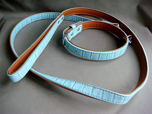 Pale Blue Faux Snakeskin Collar and Lead Set (PBFSCLS)