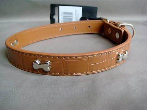 Tan Croc Effect Collar with Silver Bones - Medium (BPSSBC)