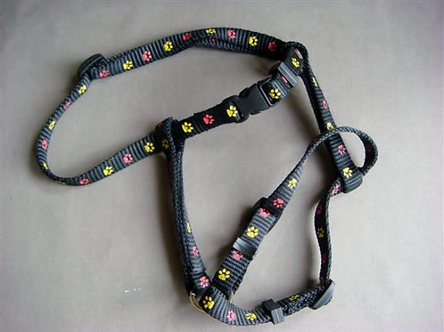 Small Harness Black with Yellow & Red Paws