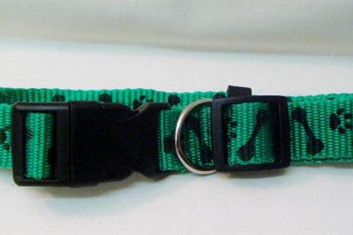 Green Nylon Collar with Paw & Bone Pattern (GNCPBP)