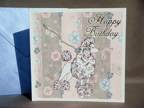 Poodle with Butterfly Greetings Card (PWBGC)