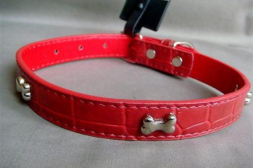 Red Patent Croc Effect Collar with Silver Bones - Medium (RPSSBC)