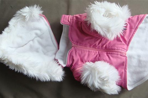 Pink Coat with White Fur Trim