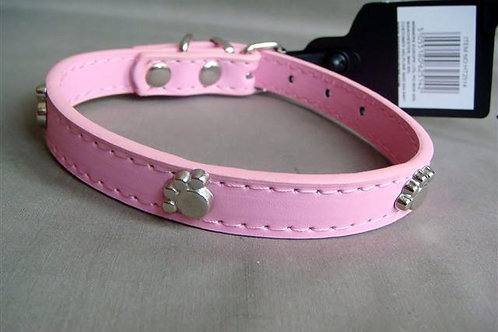 Pink Collar with Silver Paws - Small (BPPC)