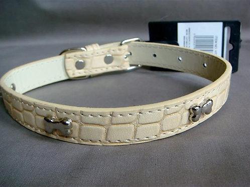 Cream Patent Croc Effect Collar with Silver Bones - Medium (CPSSBC)