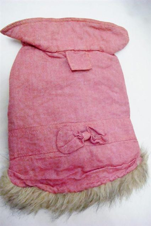 'Love Longlong' Pink Denim Dress with Faux Fur Trim