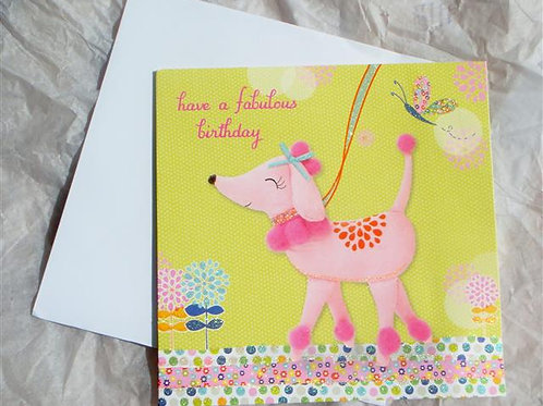 'Fabulous Birthday' (Pink Poodle) Greetings Card (FBPPGS)