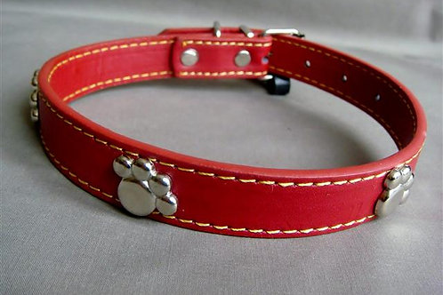 Red Collar with Silver Paws - Medium (RMPC)