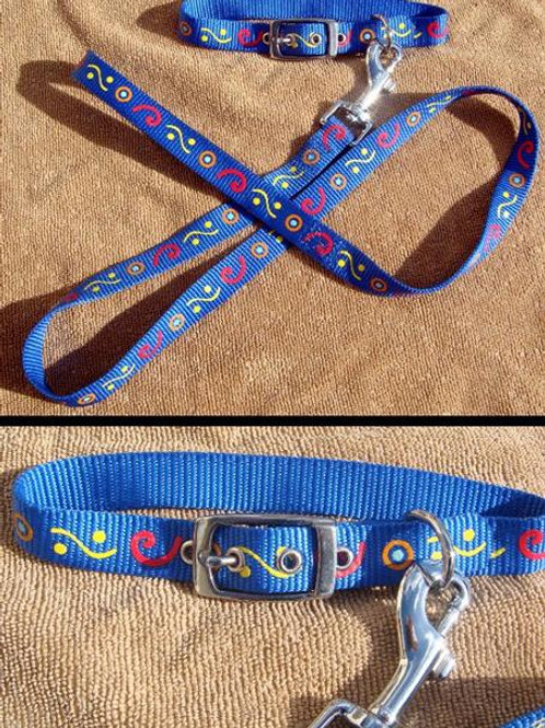 Blue 'Aztec' Collar and Lead Set (BACLS)