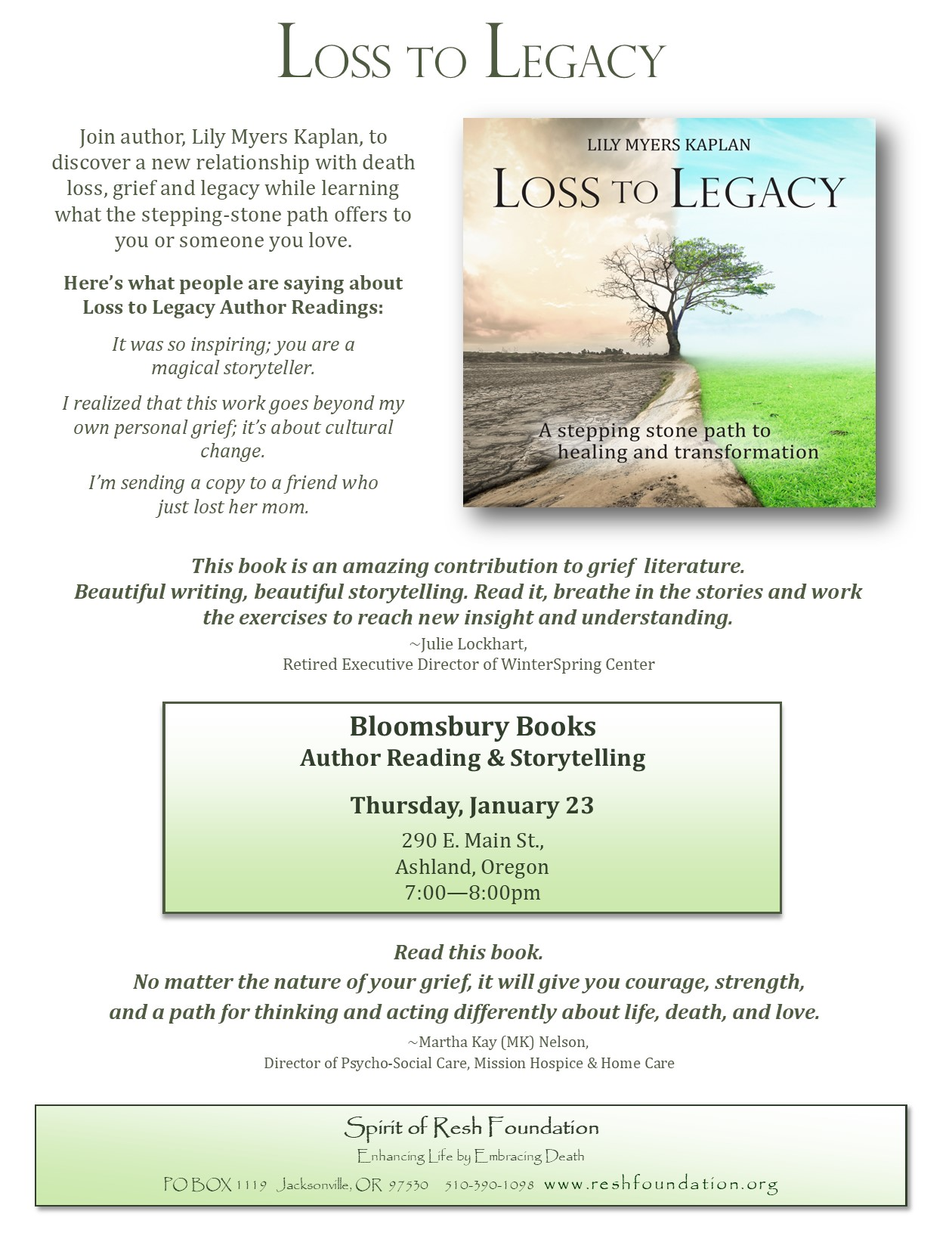 L2L Author Talk Flier.Bloomsbury Books