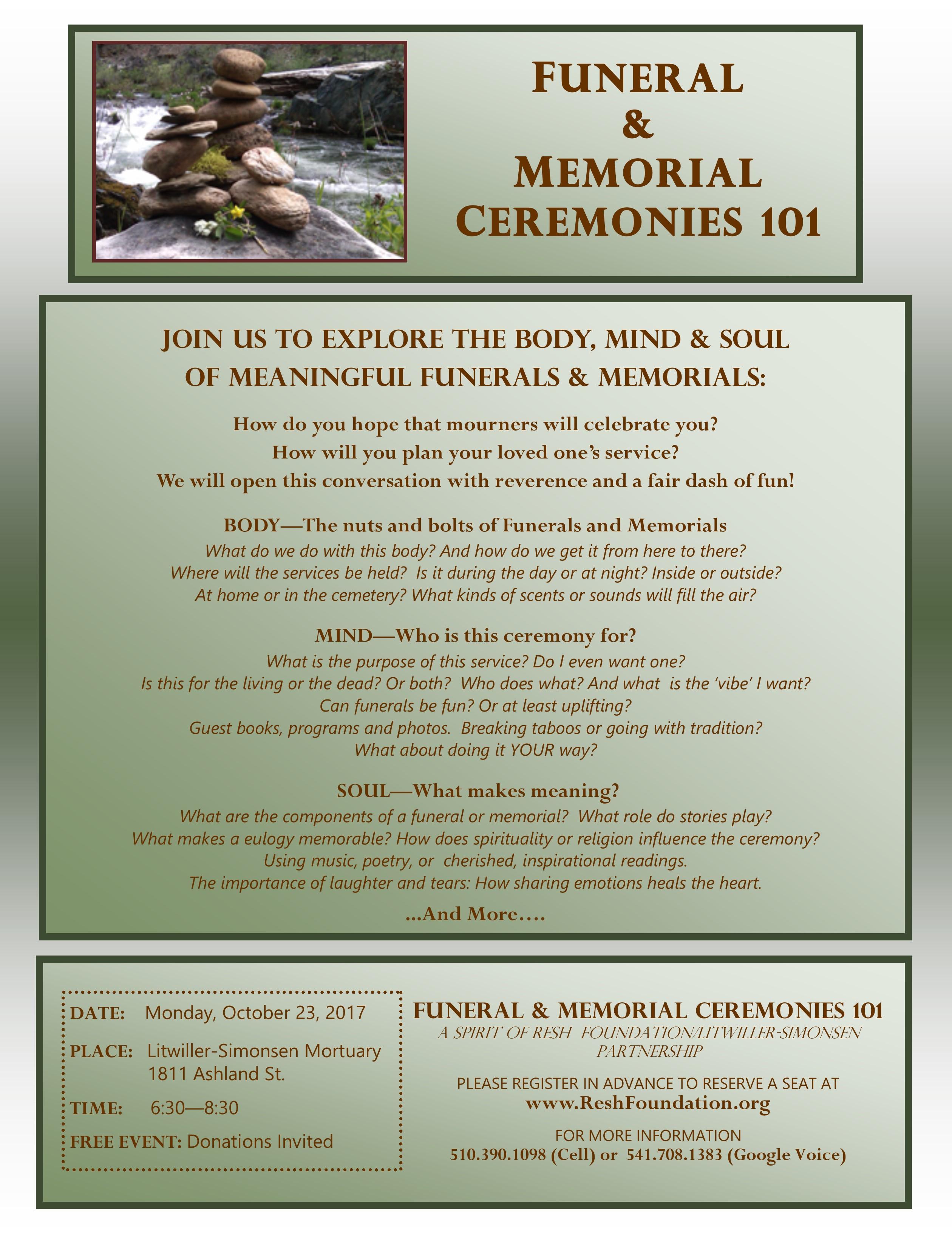 Funeral & Memorial Cermonies 101